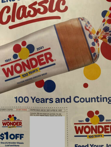 6 Wonder Bread Manufacturers Coupons Value $6   Expires 2/20/2022