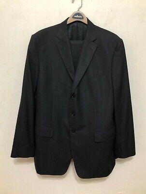 Versace Collection Mens 2 Piece Suit Jacket Blazer Pants Black Wool Sz 58 EU