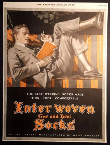 1924 Print Ad - Interwoven Socks Men's Hosiery - Signed Lester Ralph - Smoking
