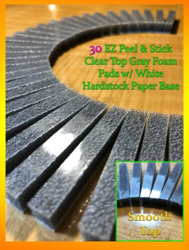 30 EZ Peel & Stick Clear Top Soft CHARCOAL GRAY Foam Pads For 8-track tape