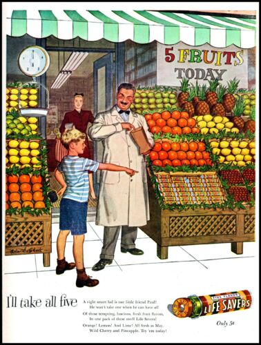 1947 Life Savers candy grocery store boy fruit stand vintage art print ad   adL5