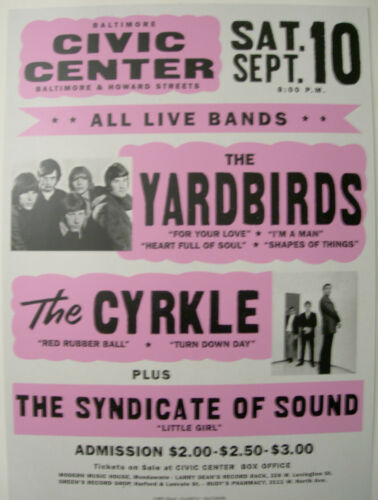THE YARDBIRDS THE CYRKLE GLOBE CONCERT TOUR POSTER
