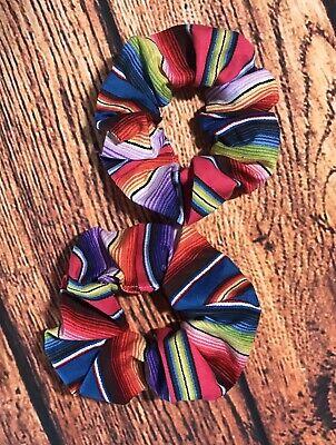 Serape Western Mexican Fiesta Stripe Hair Wrist Scrunchie Tie Set Of 2 - Fiesta Hair
