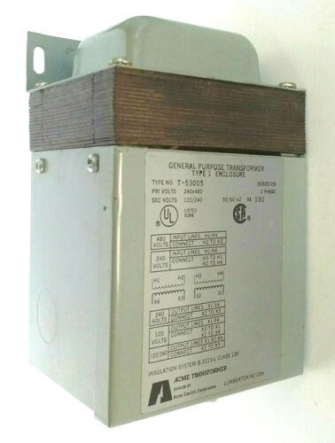 NOS Acme Electric T-53005 Transformer PRI 240x480 Volt 120/240 Series EB 1-Phase