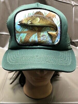 Vintage 3D Bass Fish Patch Truckers Hat Green