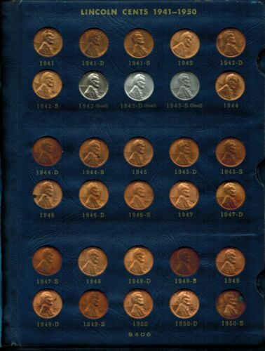 US Complete Set 1941-1974 PDS Lincoln Wheat & Memorial Penny, 90 Coins Unc.