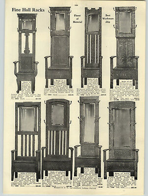 Arts & Crafts Collection Foyer (1916 PAPER AD Craftsman Arts & Crafts Oak Hall Tree Racks Seats Mirrors )