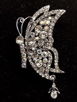 Clear Austrian Crystals Pin (Clear Austrian Crystal Garden Butterfly Bridal Wedding Brooch Broach)