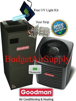 3 ton 16 SEER Goodman Heat Pump System GSZ160361+ASPT37C14+Tstat+Heat +Uv Light