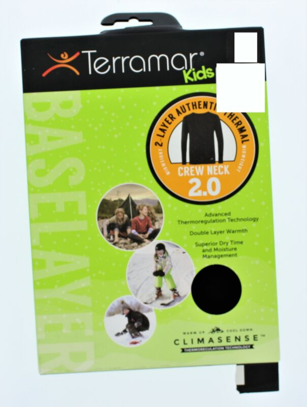 Terramar Kids 2 Layer Authentic Thermal Crew Neck Sz S Black(Box May Vary)