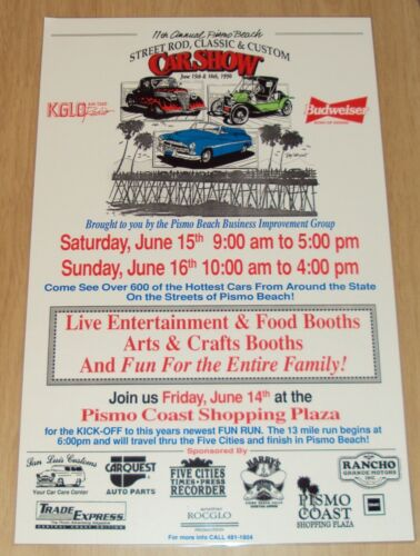 "1996 ORIGINAL Pismo Beach CA Poster~""STREET ROD, Classic & Custom CAR SHOW""~"