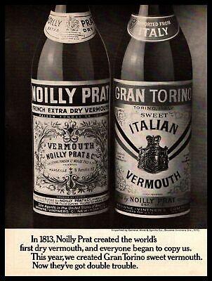 1970 Noilly Prat French Dry Vermouth Gran Torino Italian Sweet Vermouth Print Ad