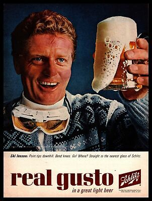 1964 Schlitz Skier Frosty Mug Real Gusto In A Great LIght Beer Vintage Print Ad