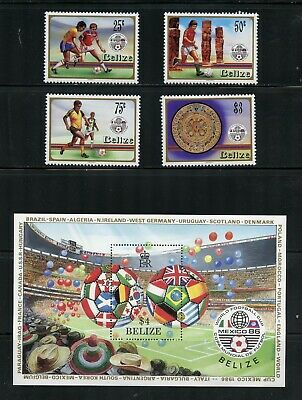 R054  Belize 1986  football soccer   set & sheet   MNH