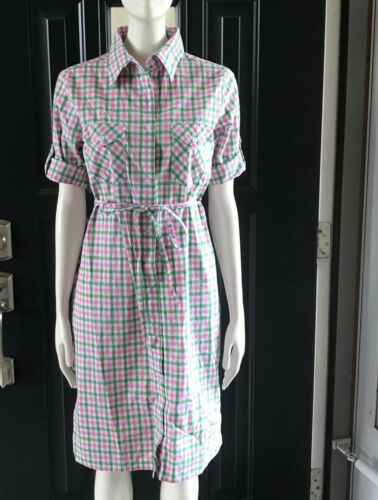 Rosie Pope Maternity Dress Tie Back Sz S. Navy Pink & Green Plaid Button