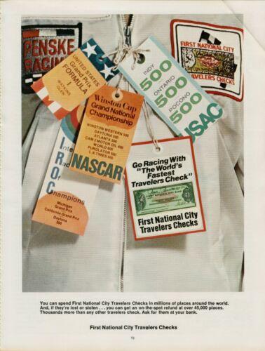 1976 First National City Travelers Checks NASCAR Pocono Watkins Vintage Print Ad