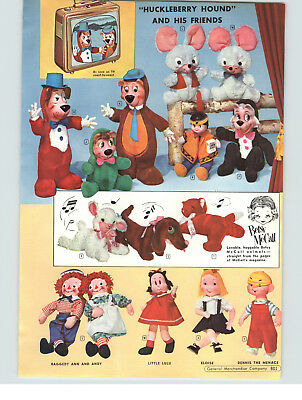 1959 PAPER AD 2 PG Plush Stuffed Animal Toy Little Lulu Yogi Bear Eloise Dolls