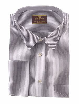 Alfa Perry Trim Fit Black And White Striped French Cuff Cotton Dress Shirt Black French Cuff Shirt