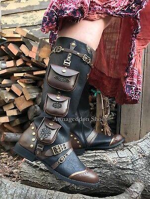 Black Brown Steampunk Renaissance Fair BoHo Viking Womans Boots Shoes 6 7 8 9 10](Steampunk Knee High Boots)