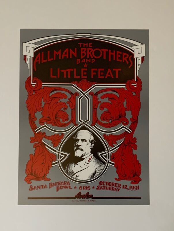 Allman Brothers and Little Feat Original 1991 Concert Poster