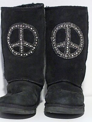 Peace Sign Boots (Penelope Wildberry Black PEACE Sign Crystal Rhinestone Shearling Boots size)