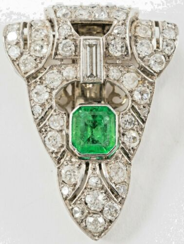 Platinum Emerald  Diamond Clip Brooch Art Deco Original