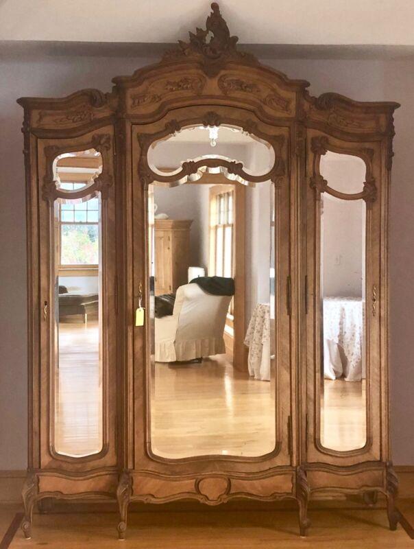 Large 3 Doors Mirrored Antique French Louis XVI 3 Armoire Wardrobe