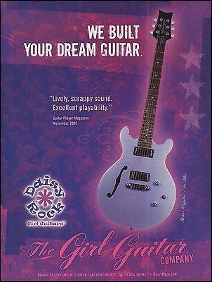 The 2005 Daisy Rock Retro-H Ice Blue Girl Guitar ad 8 x 11 advertisement print