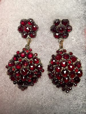Vintage Antique Cut Garnet Drop Earrings