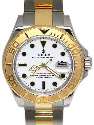 Rolex Yacht-Master 18k Yellow Gold & Steel White Dial Mens 40mm Watch +Box 16623