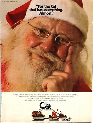 Arctic Cat Snowmobile Santa Claus Christmas Old Elf 1972 Vintage Print Ad