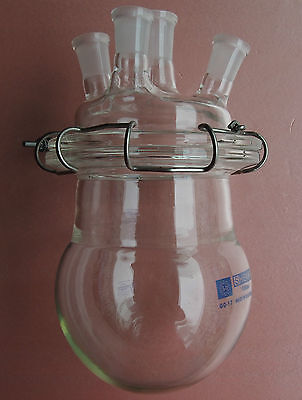 2000mlglass Reaction Flask2lfour Necks Chemistry Reactor With Lid And Clamp