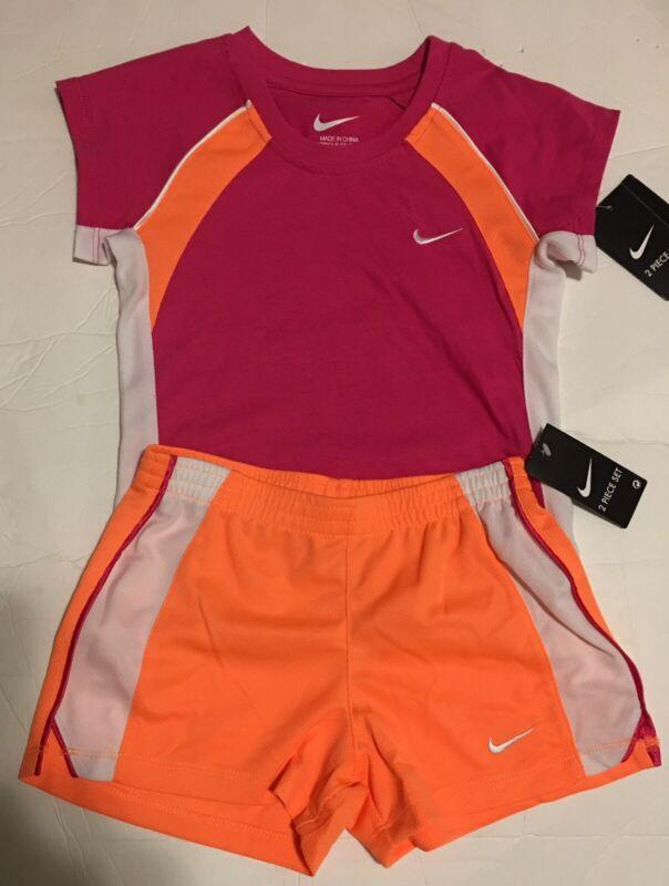 Nike Little Girls Two Piece Short Set Orange Pink Sizes 6 6X
