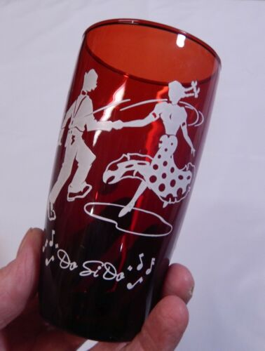 1 Vintage 1950s Anchor Hocking Ruby Red Tumbler Square Dance Do Si Do  12 Oz