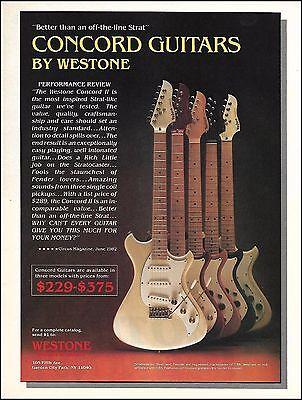The 1983 Westone Concord II guitar series ad 8 x 11 advertisement