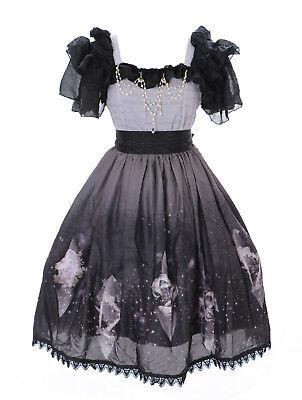 JSK-23-1 Grau Schwarz Horoskop Sternzeichen Pastel Goth Lolita Chiffon Kleid