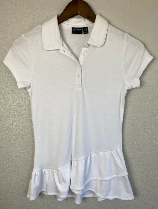 Nautica School Uniform Polo With Ruffle Botton White Top Girls Large 12/14