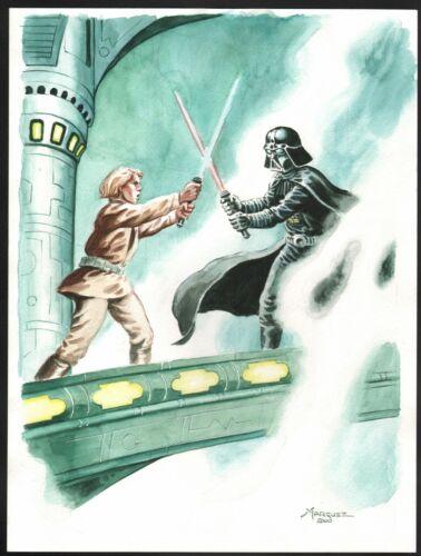 Darth Vader vs Luke Skywalker Original Art Star Wars Watercolor Painting Marquez