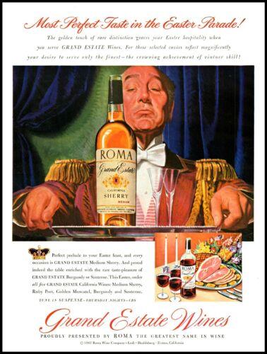 1947 Roma Grand Estate Wines California Vintage Art Print Ad  (ADL3)