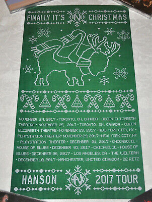 *RARE* Hanson Finally It's Christmas 2017 GREEN Tour Poster! ()