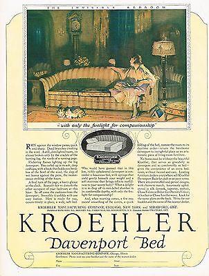 1920's BIG Vintage Kroehler Furniture Davenport Bed Art Print Ad