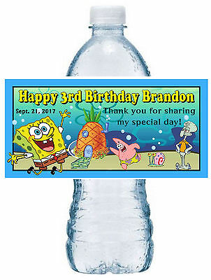Spongebob Birthday Party Favors - 20 SPONGEBOB BIRTHDAY PARTY FAVORS ~ WATER BOTTLE LABELS ~