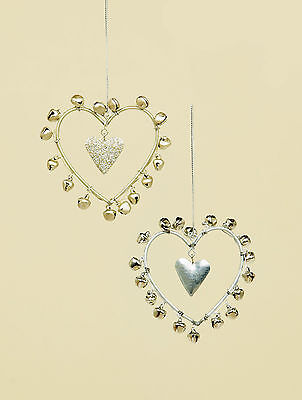2 x shabby chic Hearts Hanging Ornament Decorations with bells