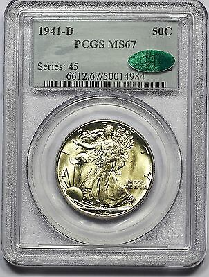 Click now to see the BUY IT NOW Price! 1941 D PCGS MS 67 CAC WALKING LIBERTY HALF FULLY STRUCK KNOCKOUT NEAR 67 PQ
