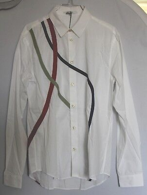 Chemise carven homme blanche bandes bleues rouges taille 37 -  s neuf