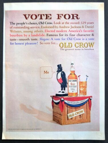 1964 OLD CROW Bourbon Whiskey Vote for the People