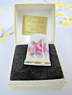 Vintage Countess bone china THIMBLE. Floral - pink roses, other flowers. England
