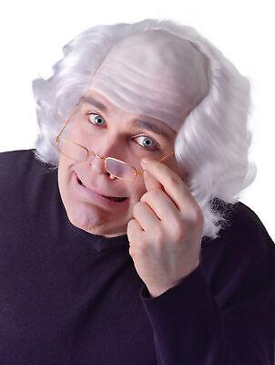 Herren Glatzköpfig Alter Mann Weiß Perücke Einstein's Mad - Einstein Perücke Kostüme