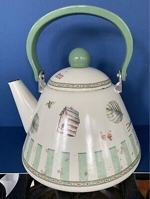 Pfaltzgraff Naturewood Metal Enamelware Teapot Kettle 2.5 QT