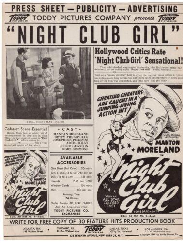 "1946 Vintage TODDY PICTURES Movie Publicity ""Night Club Girl"" w/ Manton Moreland"